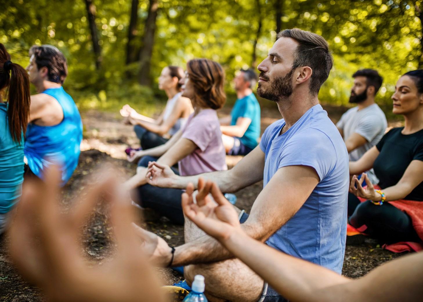 Grupo de personas haciendo yoga en el bosque.
